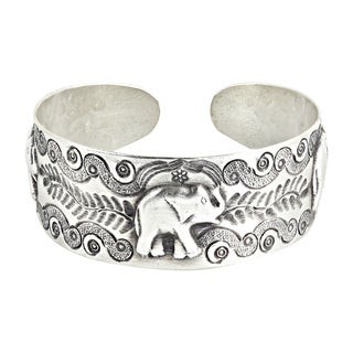 RainForest Triple Elephant Hilltribe Silver Cuff Bracelet (Thailand)