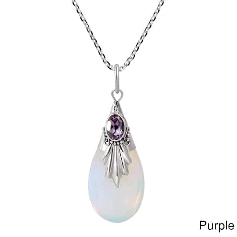 Handmade Classic Style Teardrop Natural Stone Sterling Silver Pendant Necklace (Thailand)