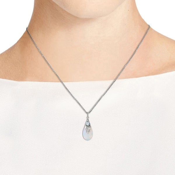 Sterling Silver Two Stone White Round Sapphire Fashion Pendant