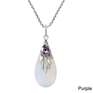 Classic Style Teardrop Natural Stone .925 Silver Necklace (Thailand)