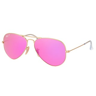 Ray-Ban RB 3025 112/1Q Classic Aviator Matte Goldtone Metal Aviator Sunglasses With Fuchsia Mirror Polarized Lenses