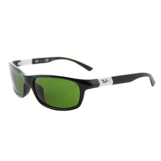 Ray-Ban RJ 9056 187/2 Children's Shiny Black Green Lens Plastic Sport Sunglasses