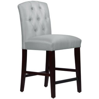 Skyline Furniture Tufted Arched Counter Stool in Shantung Silver