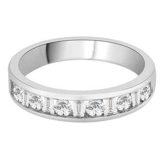14K White Gold 1/2ct TDW Baguette and Round-cut Diamond Wedding Band (G-H, I2)