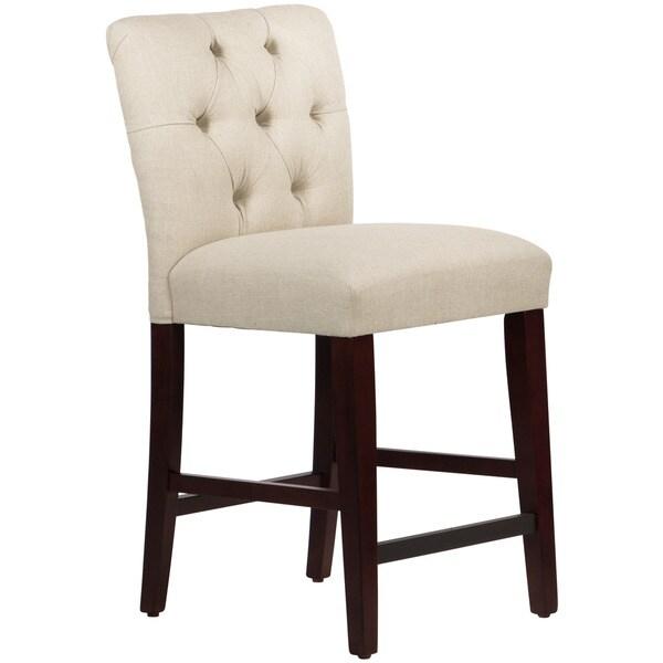 Skyline Furniture Linen Talc Tufted Mor Counter Stool