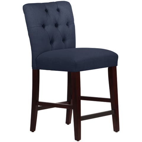 Skyline Furniture Tufted Counter Stool in Linen Navy