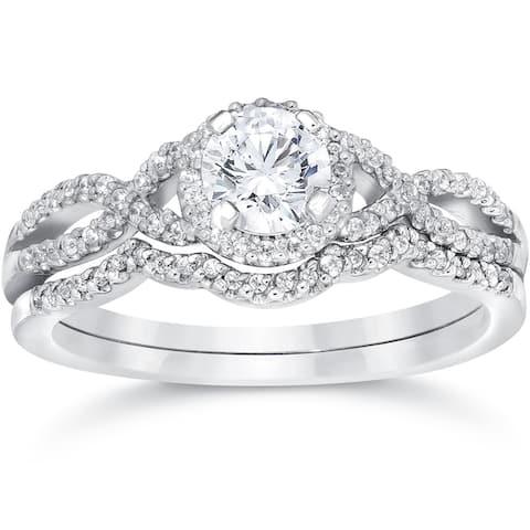 14k White Gold 3/4ct TDW Diamond Infinity Halo Engagement Wedding Ring Set