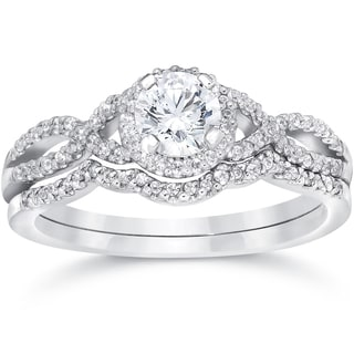 14k White Gold 3/4ct TDW Diamond Infinity Halo Engagement Wedding Ring Set (I-J, I2-I3)