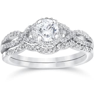 14k White Gold 3/4ct TDW Diamond Infinity Halo Engagement Wedding Ring Set|https://ak1.ostkcdn.com/images/products/12727425/P19507117.jpg?impolicy=medium