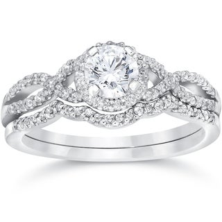 14k White Gold 3/4ct TDW Diamond Infinity Halo Engagement Wedding Ring Set