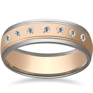 14k White Gold 1/5ct TDW Diamond Two Tone 6mm Men's Wedding Ring