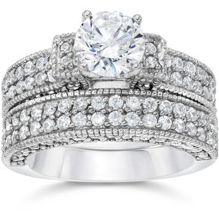 14k White Gold 2 3/4 ct TDW Cathedral Pave Diamond Engagemnt Ring And Matching Wedding Band Set (I-J, I2-I3)