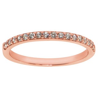 Eternally Haute 14K Rose Gold Plated Solid Sterling Silver Stackable Pave Anniversary Band
