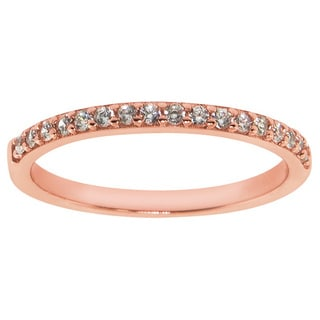 Eternally Haute Rose Gold Plated Solid Sterling Silver Stackable Pave Anniversary Band
