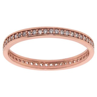 Eternally Haute 14k Rose-goldplated Solid Sterling Silver and Cubic Zirconia Stackable Eternity Band - Pink