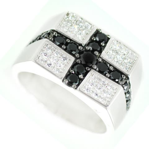 One-of-a-kind Gems en Vogue Black and Clear Cubic Zirconia Mens Ring