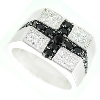 One-of-a-kind Michael Valitutti Black and Clear Cubic Zirconia Mens Ring