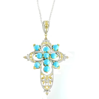 One-of-a-kind Michael Valitutti Turquoise and White Sapphire Cross Pendant
