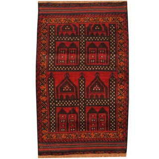Herat Oriental Afghan Hand-knotted Tribal Balouchi Wool Rug (3' x 4'9)