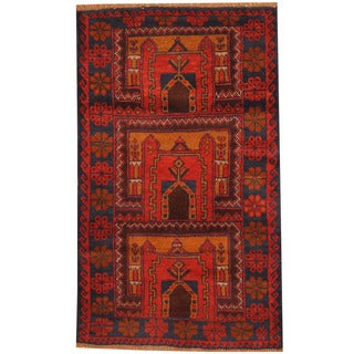 Herat Oriental Afghan Hand-knotted Tribal Balouchi Wool Rug (2'10 x 4'8)
