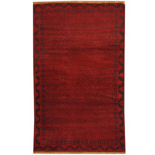Herat Oriental Afghan Hand-knotted Tribal Balouchi Wool Rug (2'10 x 4'7)
