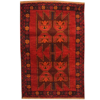 Herat Oriental Afghan Hand-knotted Tribal Balouchi Wool Rug (3' x 4'4)