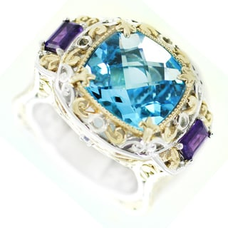 One-of-a-kind Michael Valitutti Swiss Blue Topaz Quartz with Amethyst and Blue Sapphire Cocktail Ring