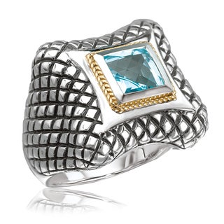 Avanti Sterling Silver and 18K Yellow Gold Square Blue Topaz Cross Hatch Design Ring