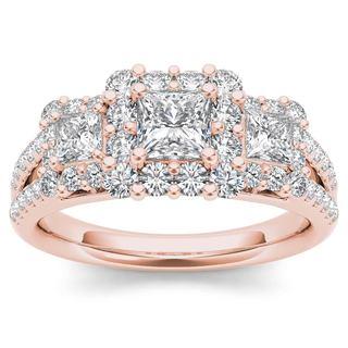 De Couer 14k Rose Gold 1 1/2ct TDW Diamond Three-Stone Halo Engagement Ring (H-I,I2)