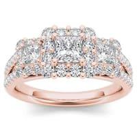 De Couer 14k Rose Gold 1 1/2ct TDW Diamond Three-Stone Halo Engagement Ring - Pink