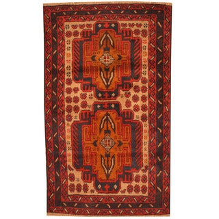 Herat Oriental Afghan Hand-knotted Tribal Balouchi Wool Rug (3' x 5'1)