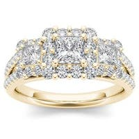 De Couer 14k Yellow Gold 1 1/2ct TDW Diamond Three-Stone Halo Engagement Ring