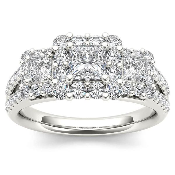 De Couer 14k White Gold 1 1/2ct TDW Diamond Three-Stone Halo Engagement Ring - White H-I