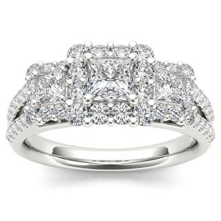 De Couer 14k White Gold 1 1/2ct TDW Diamond Three-Stone Halo Engagement Ring