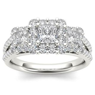 De Couer 14k White Gold 1 1/2ct TDW Diamond Three-Stone Halo Engagement Ring (H-I,I2)