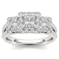 De Couer 14k White Gold 1 1/2ct TDW Diamond Three-Stone Halo Engagement Ring - White H-I