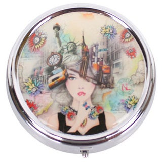 Nicole Lee Signature Stainless Steel New York Print Pill Case