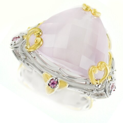 One-of-a-kind Michael Valitutti Tilliant Check Top Rose Quartz with Dark Pink Sapphire Cocktail Ring