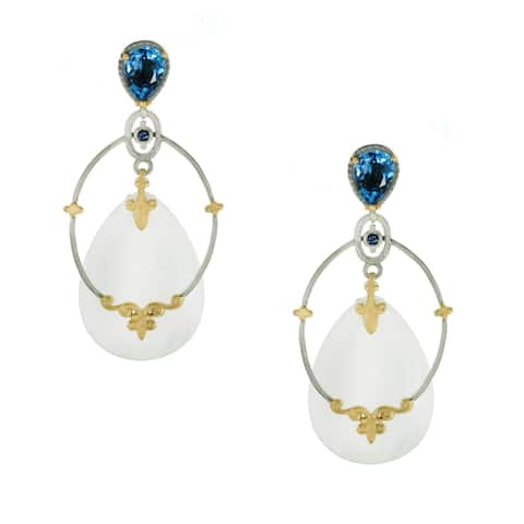 One-of-a-kind Michael Valitutti White Mother of Pearl with Swiss Blue Topaz and Blue Sapphire Drop Earrings