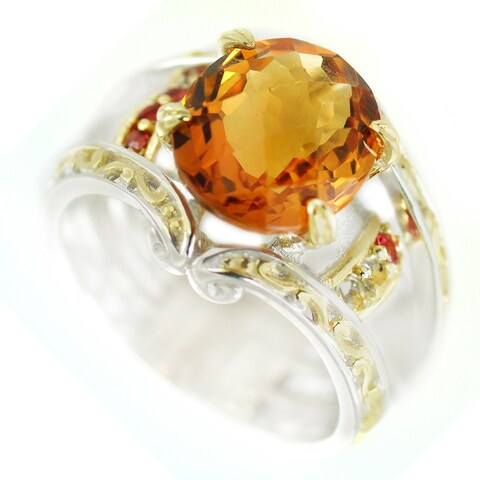 One-of-a-kind Michael Valitutti Fire Citrine and Dark Orange Sapphire Cocktail Ring