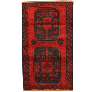 Herat Oriental Afghan Hand-knotted Tribal Balouchi Wool Rug (2'8 x 4'5)