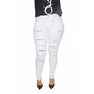 Juniors' Plus Size White Cotton/ Spandex Ripped Stretch Skinny Jeans