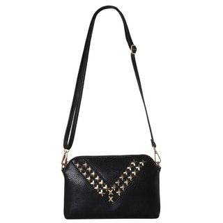 Diophy V-Shape Studded Decor Crossbody Handbag w/Removable Strap