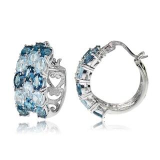 Glitzy Rocks Sterling Silver London Blue Topaz and Blue Topaz 3-Row Hoop Earrings