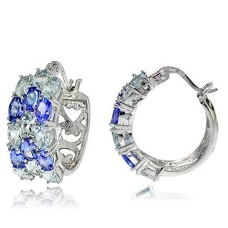 Glitzy Rocks Sterling Silver Aquamarine and Tanzanite 3-Row Hoop Earrings