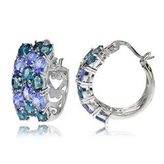 Glitzy Rocks Sterling Silver London Blue Topaz and Tanzanite 3-Row Hoop Earrings