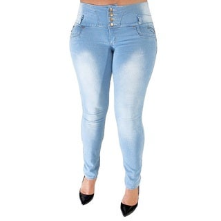 Juniors' Light Blue Plus-size Stretch Butt-lifter Skinny Jeans