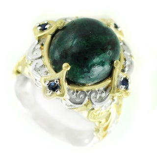 One-of-a-kind Michael Valitutti Opaque Emerald with Blue Sapphire Cocktail Ring