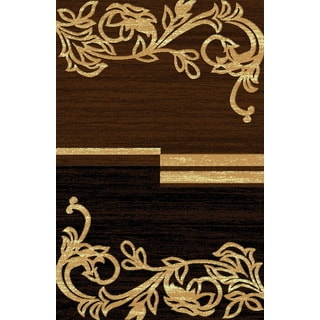 Traditional Beige Brown Floral Motif Power Loomed Area Rug (8' x 11')