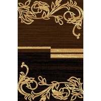 Traditional Beige Brown Floral Motif Power Loomed Area Rug - 8' x 11'